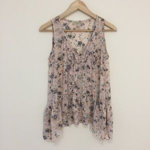 Moon Collection romantic floral ruffled top